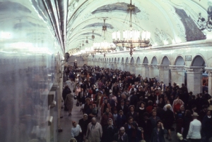 Human Throng: underground train station in Moscow, 1969.