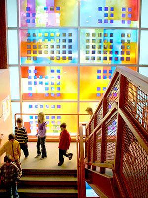 Solar photovoltaic glass art by artist Sarah Hall.  Image courtesy of Sarah Hall Studios.